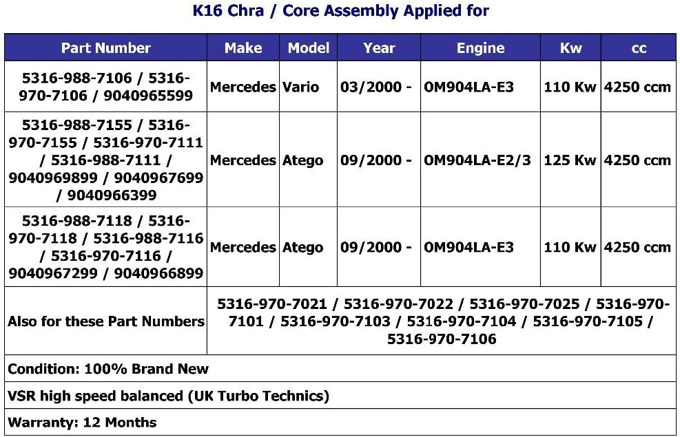 Turbocharger Mercedes Vario Atego 9040965599 53169887106 k16-7106