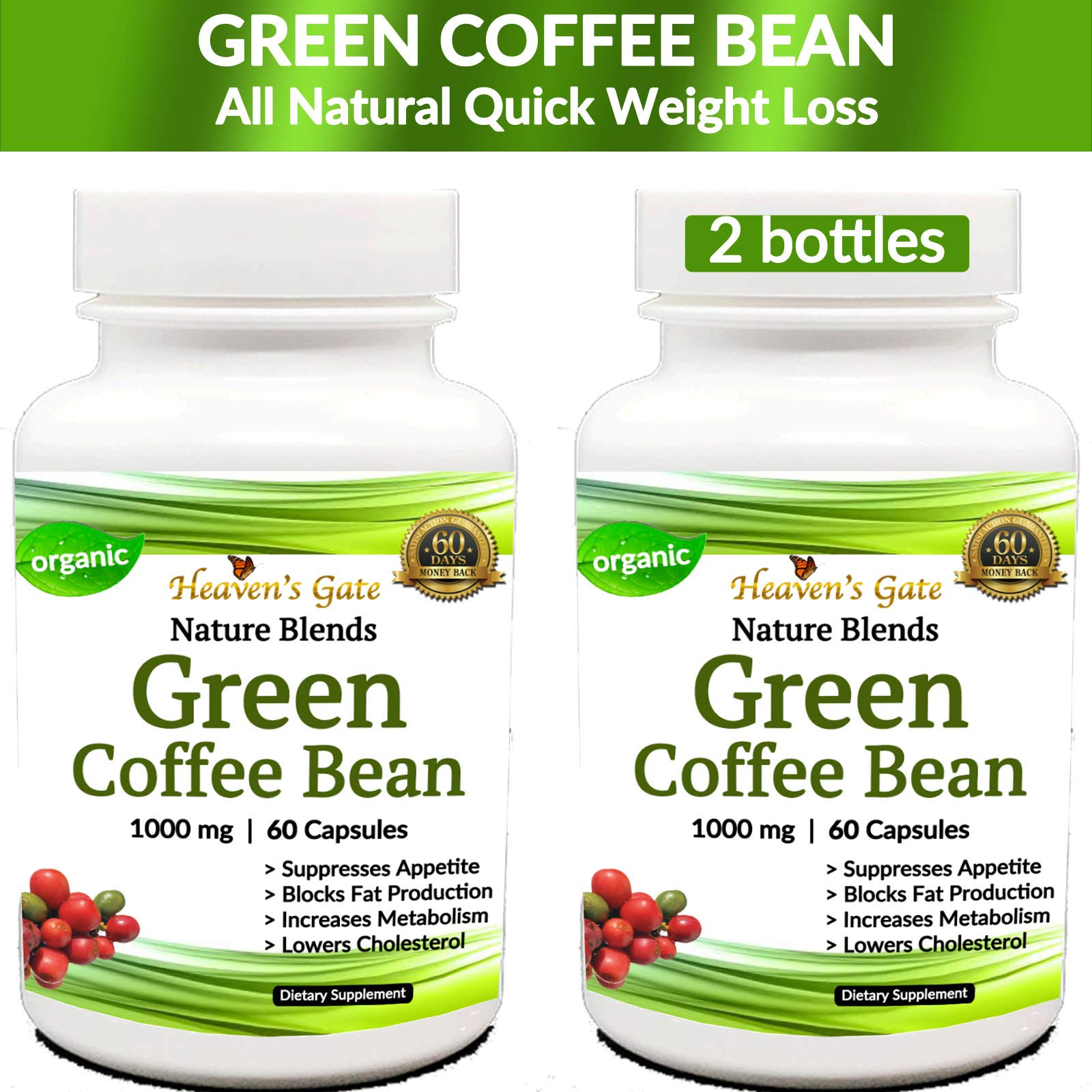 Green Coffee Bean - Weight Loss Supplement - Appetite Suppressant - 120 Capsules, 1000 mg - Organic - 70% HCA - GMO and Gluten Free - 100% Pure - Extra Fast Weight Loss