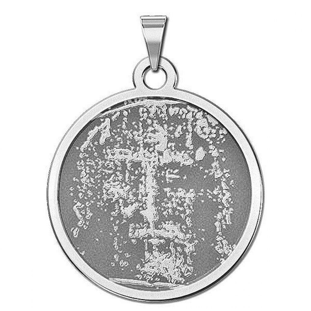 Shroud of Turin Religious Medal - 1 Inch Size of a Quarter -Solid 14K White Gold