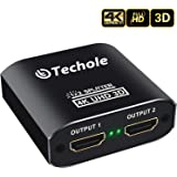 HDMI Splitter 1 in 2 Out - Techole 4K Aluminum Ver1.4 HDCP, Powered HDMI Splitter Supports 3D 4K@30HZ Full HD1080P for Xbox PS4 PS3 Fire Stick Roku Blu-Ray Player Apple TV HDTV - Cable Included