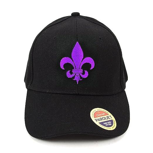 Purple Fleur-de-lis Embroidered Baseball Cap (Black) at Amazon Men s ... ee7013704f49