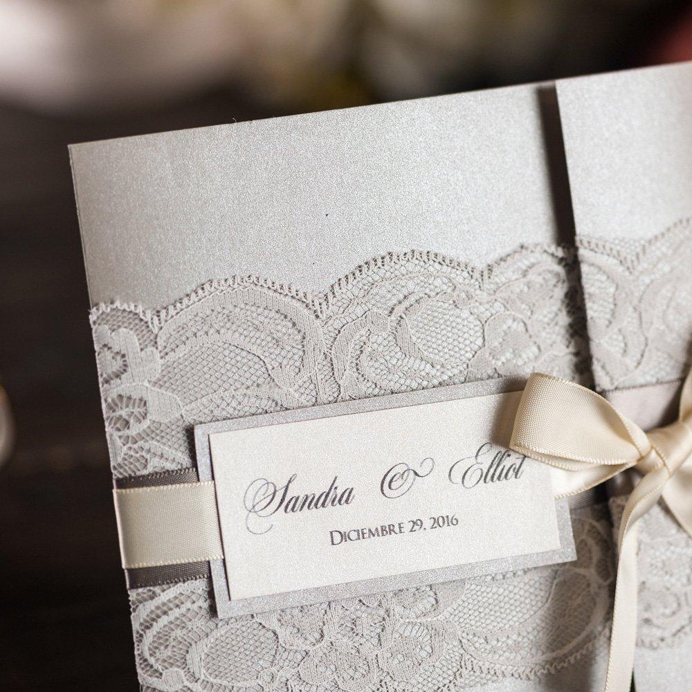 Amazon.com: 50x Elegant Silver Wedding Invitations Kits With RSVP ...