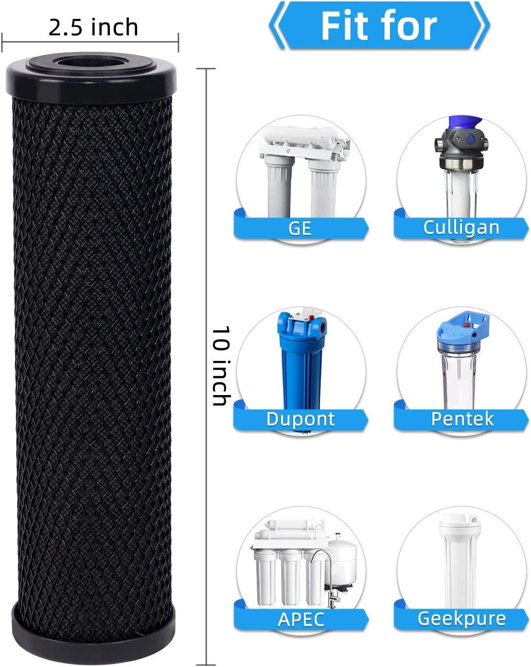 2.5 x 10 Whole House Replacement Water Filter for Countertop /& RO /& Whole House Water Filter System Fil-fresh 1 Micron Carbon Water Filter 4-Packs