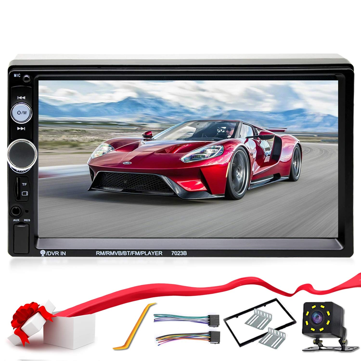 7/'/' Stereo Touch Screen Double Din Radio with Bluetooth FM Radio MP3 MP5//TF//USB//AUX,Remote Control,Rear View Camera