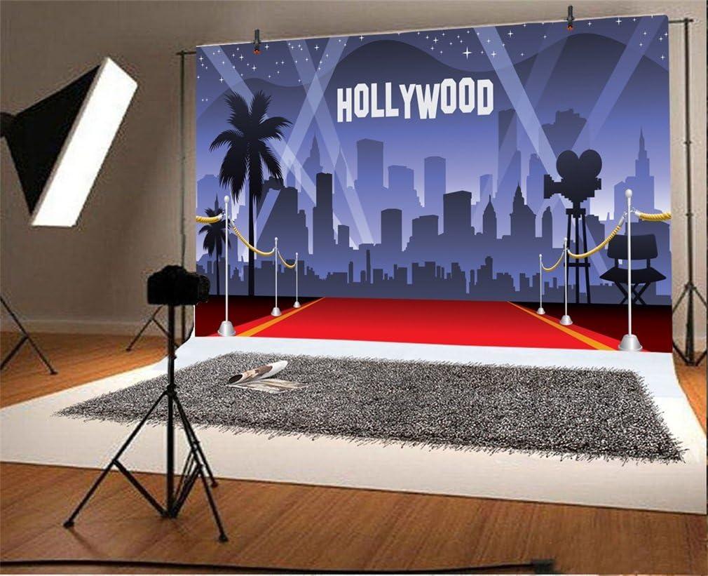 Yongfoto 3x2m Vinyl Foto Hintergrund Hollywood Roter Kamera