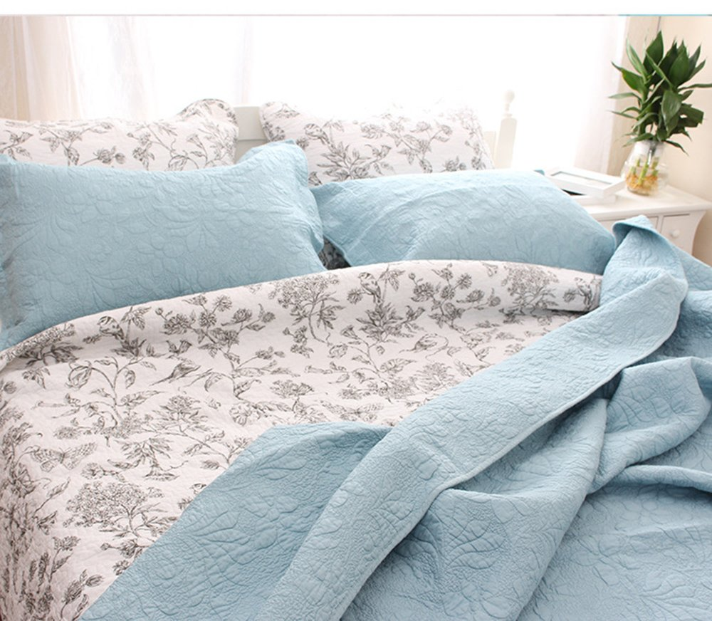 YaYi Solid Quilt Sets with Shams Reversible Soft 100% Cotton Quilted Bedspread and Coverlet Sets King Size(106''x98'') 3 Piece Bedding Collection Hypoallergenic All-season Blue by YaYi (Image #2)