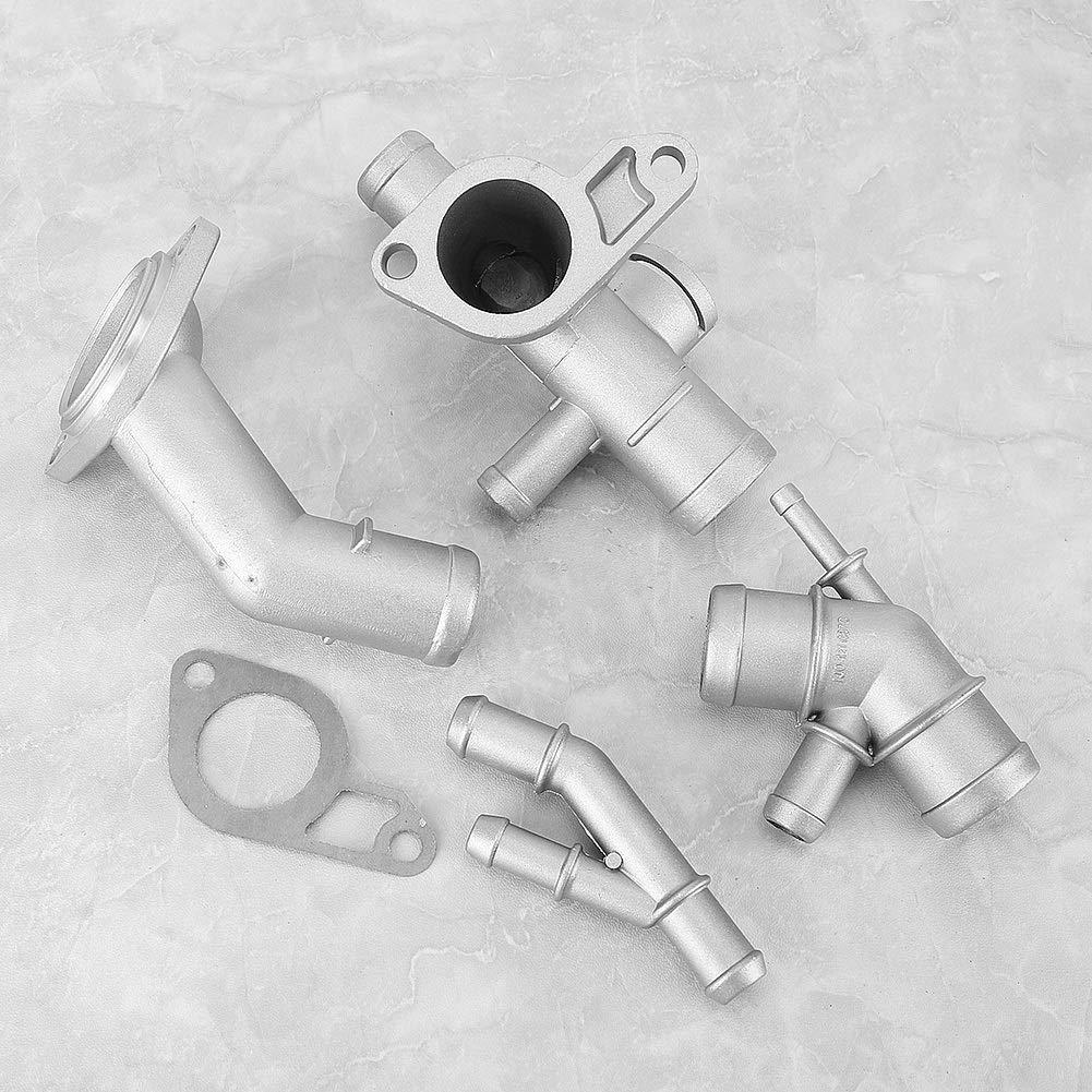 4 pezzi//set Kit flangia tubo flessibile refrigerante motore in alluminio adatto per Mk4 1.8T 2000-2005 06A121132A Kit flangia refrigerante