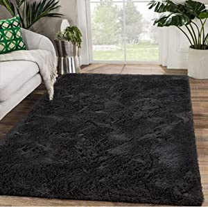Modern Soft Fluffy Bedroom Rug Shag Fur Area Rugs Non-Slip Indoor Livingroom Dorm Kids Nursery Room Floor Carpet, Large Plush Furry Fur Comfy Accent Home Decorative Mat, 5 x 8 Feet, Black