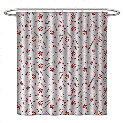 Anniutwo Candy Cane Shower Curtains With Hooks Sugary Treats Of New Year Celebrations Pattern
