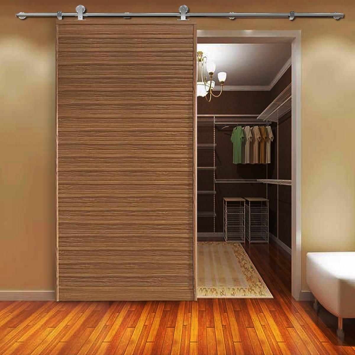 Stainless Steel Sliding Barn Wooden Door Hardware Track(8ft Single Door Kit) by SunGive (Image #5)