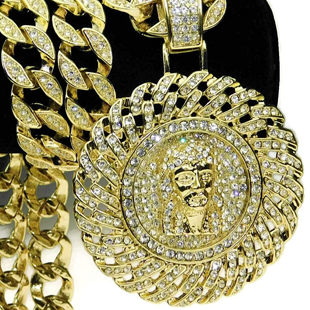 """Huge Jesus Piece Medallion Cuban Chain Pendant Gold Finish Iced-Out Bling 30"""" Inch Hip Hop Necklace"""