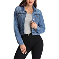 andy & natalie Women's Denim Jackets Casual Collared Long Sleeve Basic Button Down Crop Jean Jacket with Pockets