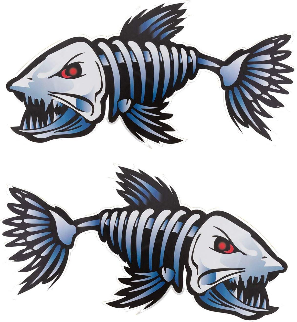 Ikerall Fish Bones Skeleton Stickers Reflective Decals Graphics Suitable for Fishing Boat Canoe Car Truck Kayak Windows etc