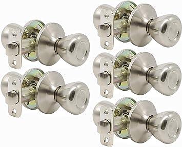 2 Pack Probrico Interior Passage Keyless Door Knobs Door Lock Handle Handleset Lockset Without Key Doorknobs Satin Nickel for Hall//Closet-Door Knob 609