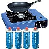 Cocina Campingaz Bistro 2 + 4 Cartuchos de Gas Campingaz compatibles + sartén Antiadherente 20cm Cok