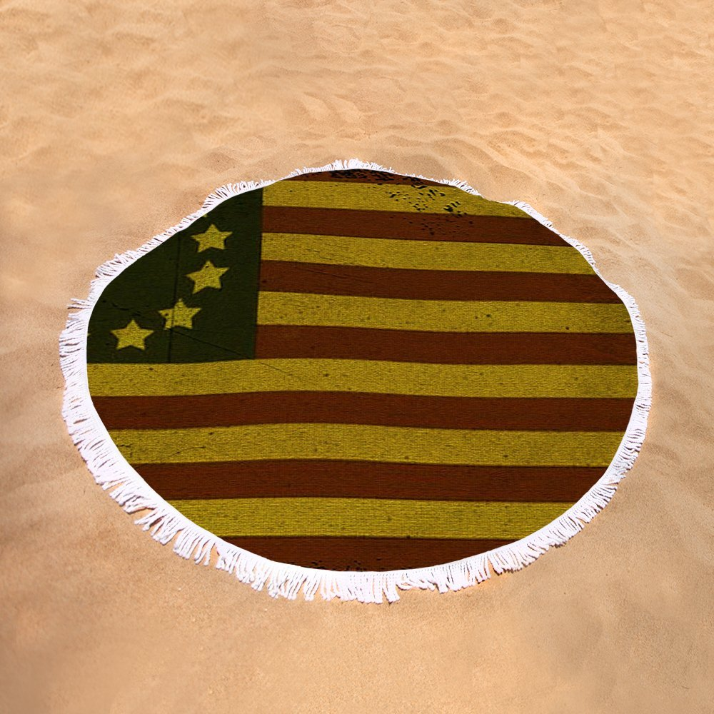 Pixels Round Beach Towel With Tassels featuring ''Colonial Flag'' by Bill Cannon by Pixels