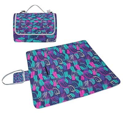 Coosun coloré exotique Feuilles de palmier Motif couverture de pique-nique Sac pratique Tapis résistant aux moisissures et étanche Tapis de camping pour les pique-niques, les plages, randonnée, Voy