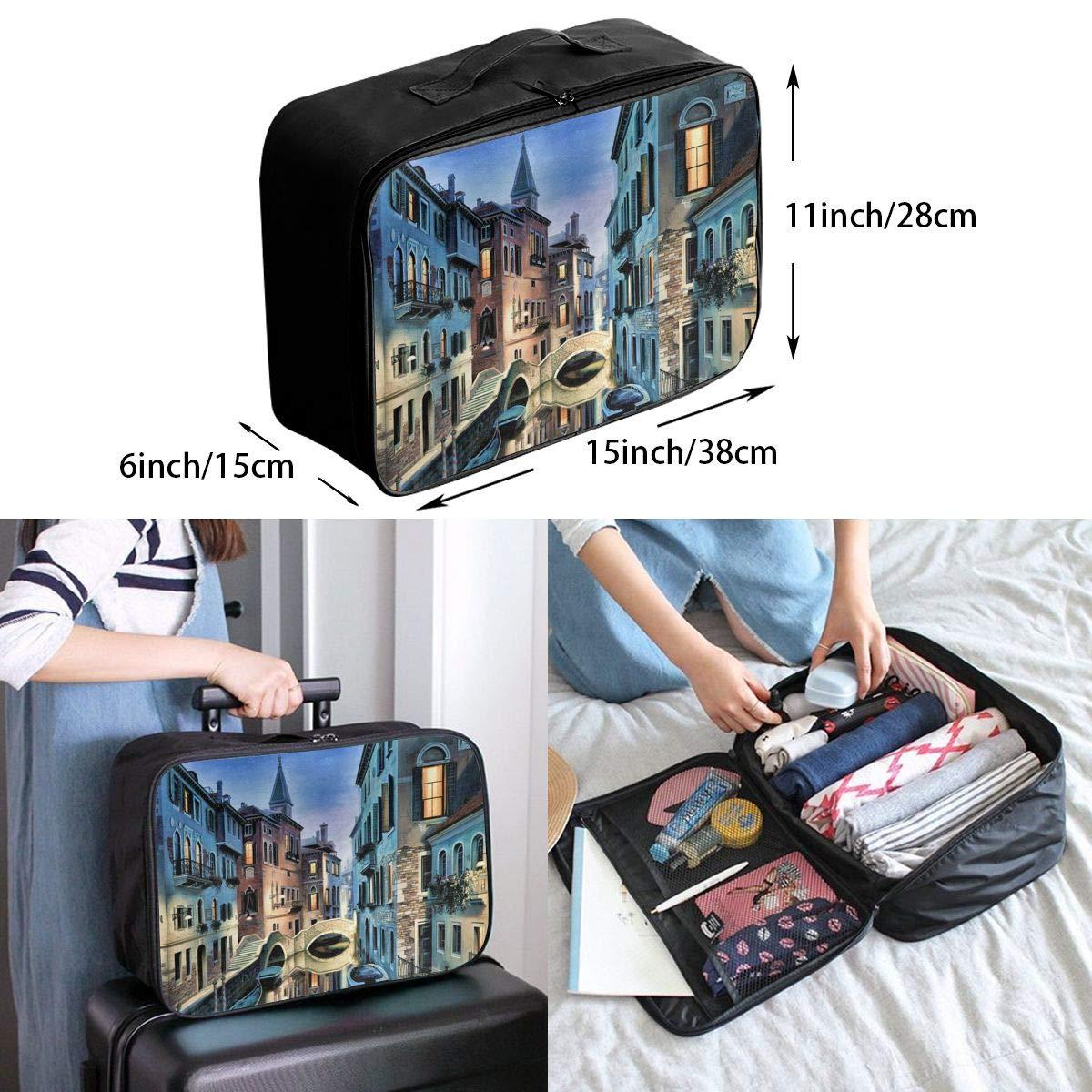 Travel Luggage Duffle Bag Lightweight Portable Handbag Beautiful City Pattern Large Capacity Waterproof Foldable Storage Tote