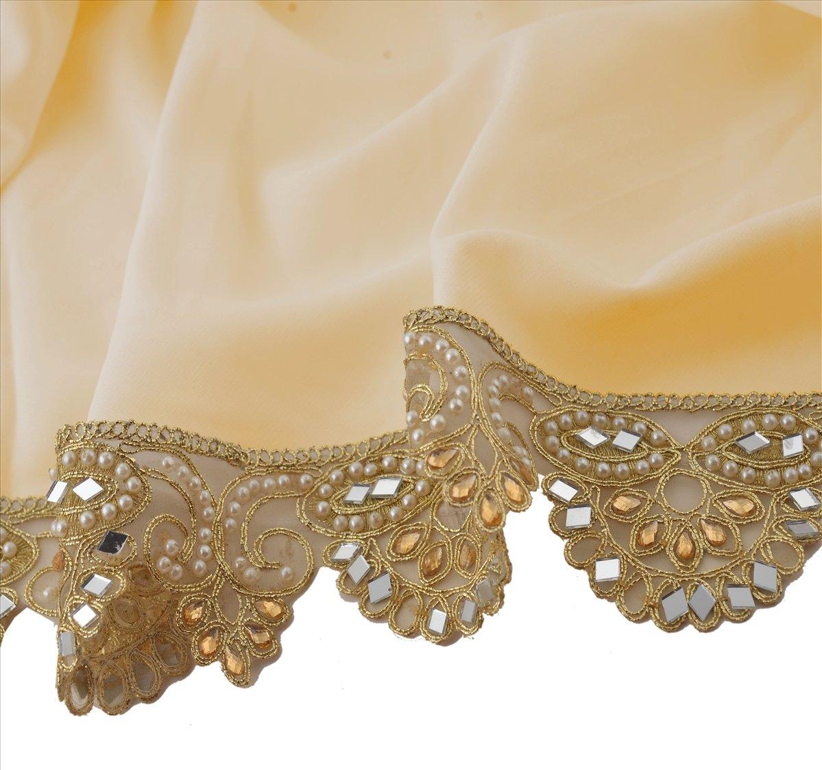 BridalMary Hand Beaded Bridal Dress DIY Wedding Sash Applique 1 YD Golden Craft Lace.
