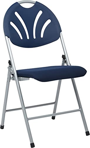 Office Star Ventilated Plastic Fan Back Folding Chair with Padded Mesh Seat and Silver Frame, 4-Pack, Blue