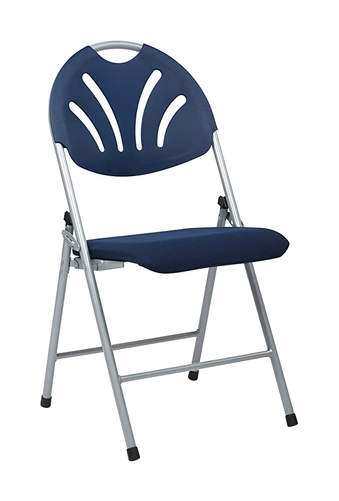 Office Star Ventilated Plastic Fan Back Folding Chair with Padded Mesh Seat, 4-Pack, Silver Frame, Blue Seat and Back