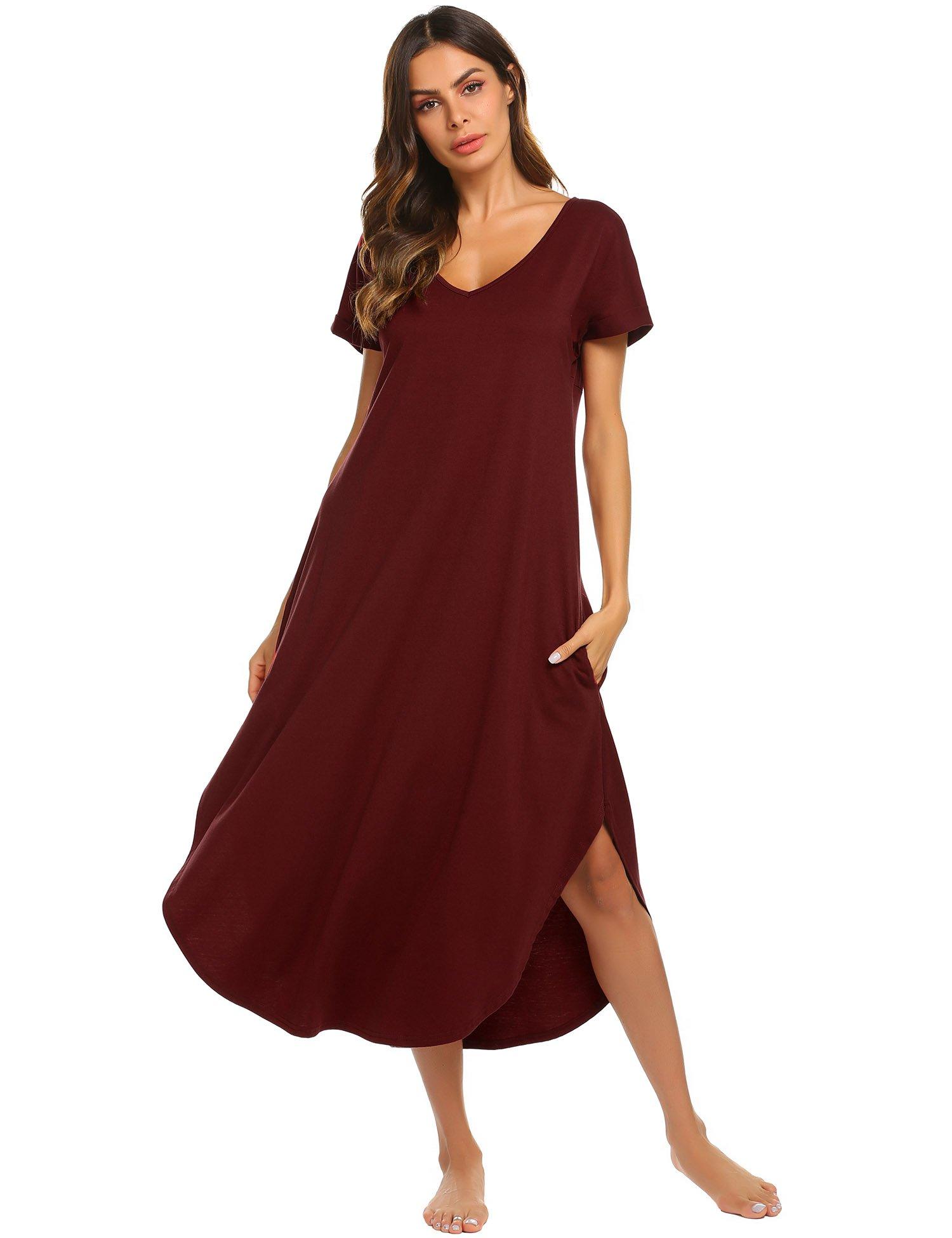Ekouaer Plus Size Nightshirt Women's Short Sleeve Sleep Gown Soft Long Nighty Dress (Wine Red,XXL)