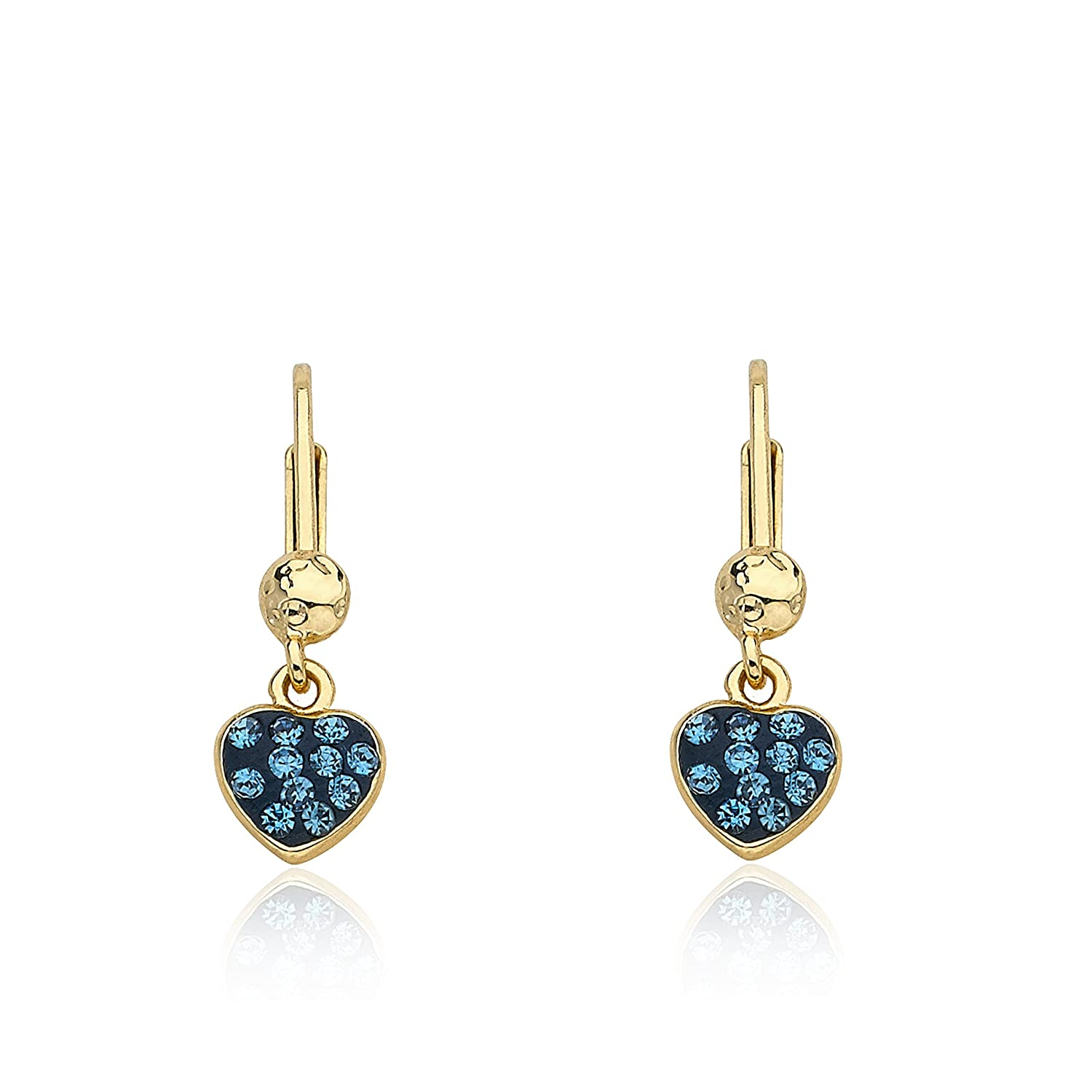 Molly Glitz Heart of Jewels 14k Gold-Plated Blue /& Crystal Heart Leverback Dangle Earring