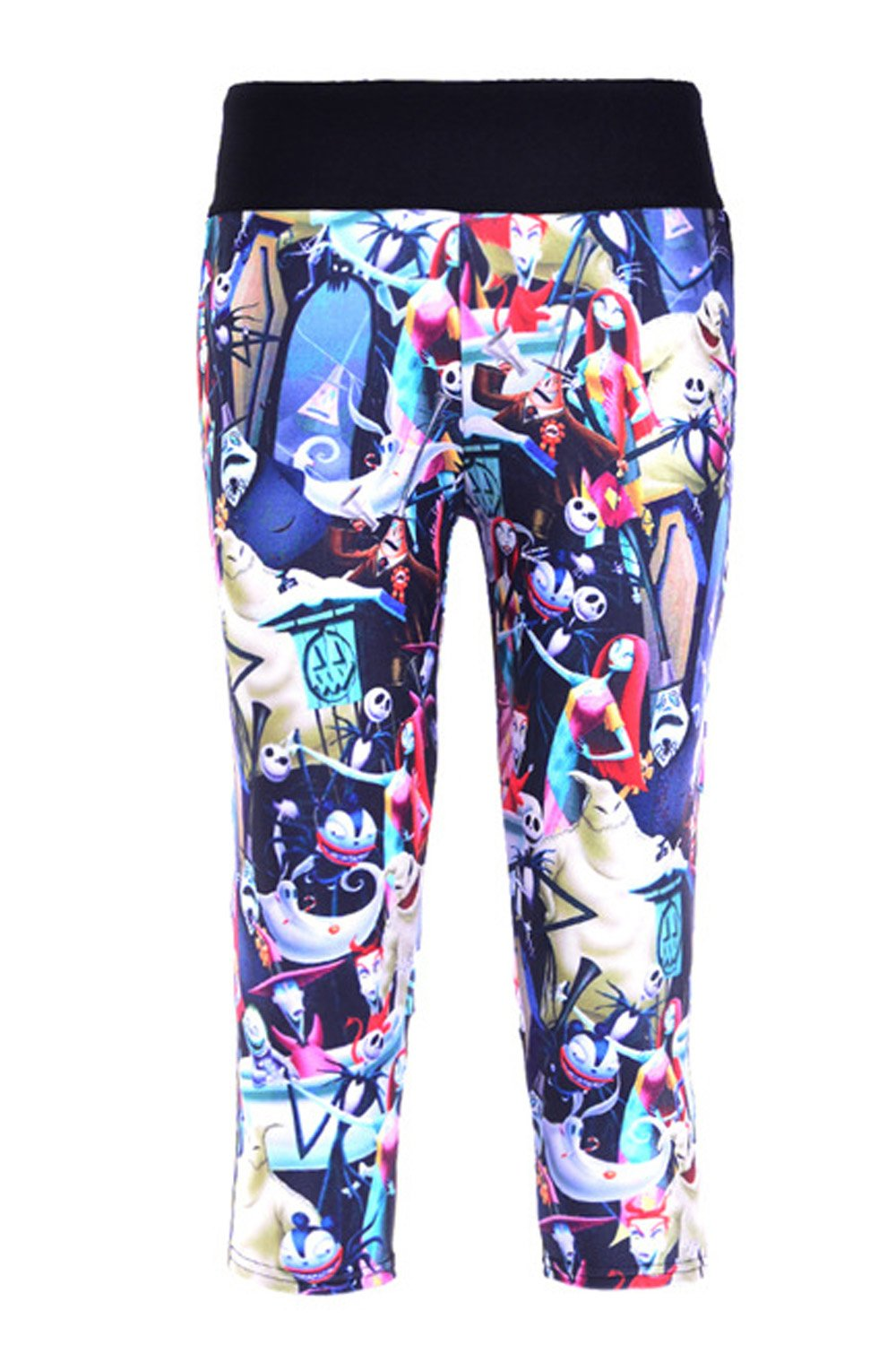 Lady Queen Women's Nightmare Before Christmas Knee Length Tight Sports Capri Pants