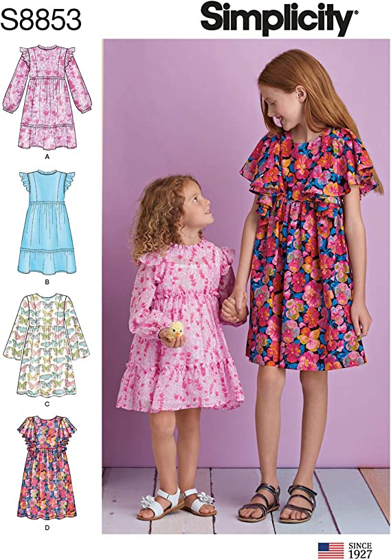 Sizes 3-8 Simplicity US8851A Girls Full Skirt Dress Sewing Patterns