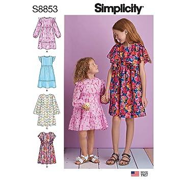 bfc0676bd Simplicity US8853K5 Pattern S8853 - Patrones de costura para vestidos de  niña (tallas 7-8-10-12-14): Amazon.es: Juguetes y juegos