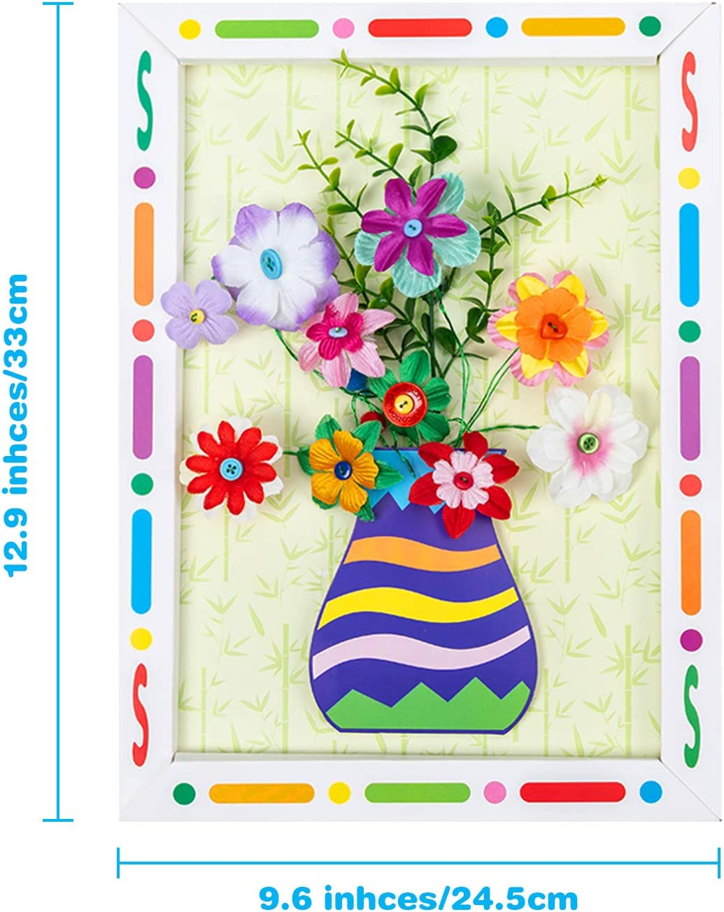 Jetec 6 Pieces Flower Button Craft Kit for Kids Fun DIY Flower Kit Button Bouquet Craft Kit Handmade Art Craft Kit DIY Art Supplies for Kids