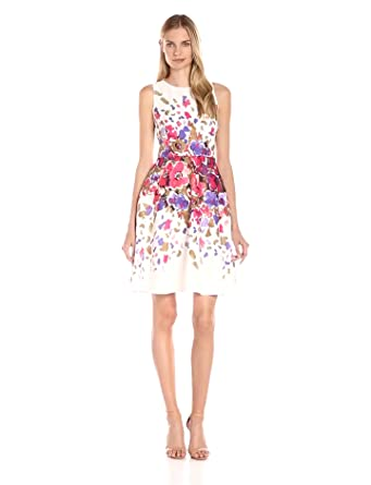 Donna Morgan Women\'s Sleeveless Floral-Printed Dress, Raspberry ...