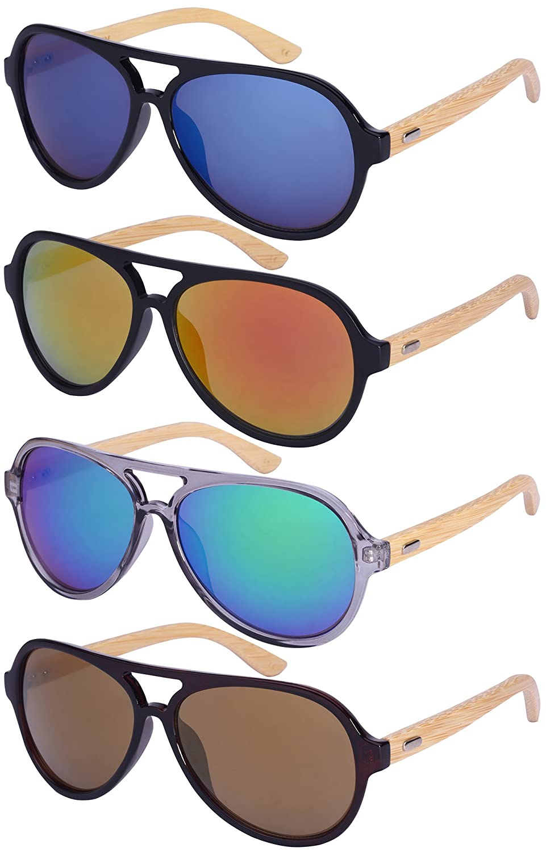 17262ad95 Amazon.com: Edge I-Wear Retro Aviators Bamboo Wood Sunglasses Color Full  Mirrored Lens w/Fiber Case M540917BM-REV-1(BLK/burev): Clothing