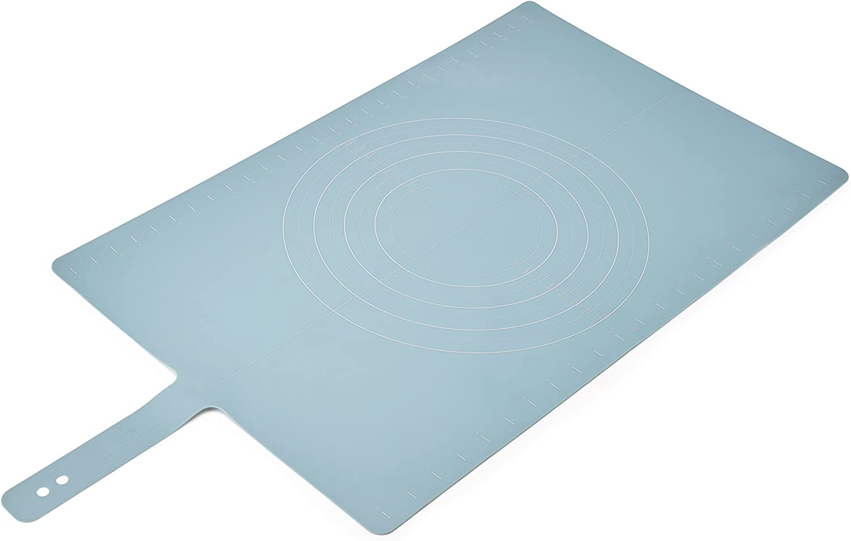 "Joseph Joseph 20097 Roll-Up Non-Slip Silicone Pastry Mat with Measurements Lockable Strap 23"" x 15"", Blue"