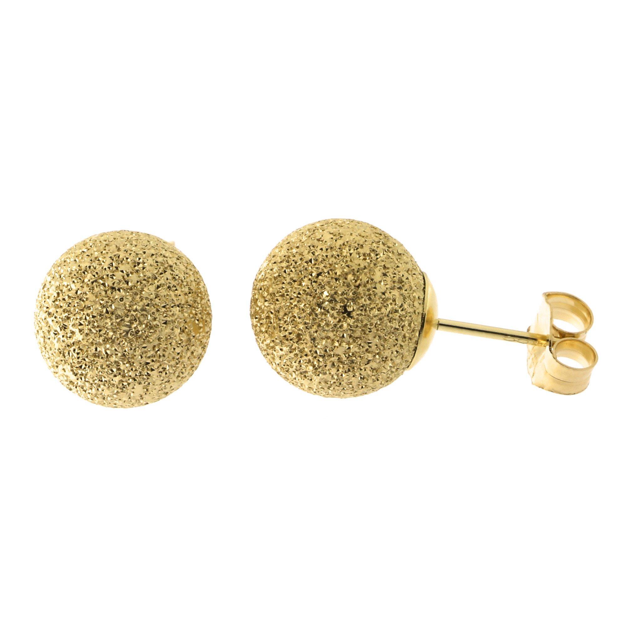 14k Yellow Gold Sparkling Diamond-cut Ball Stud Earrings - 9mm