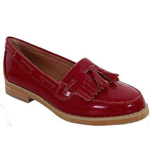 FANTASIA BOUTIQUE Mocasines de Charol con flecos borla y tacón Bajo Sin Cordones Plano para mujer elegante oficina zapatos - Rojo, 7 UK / 40 EU: Amazon.es: ...