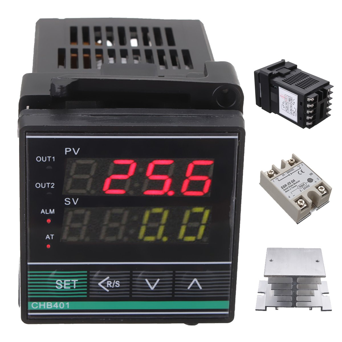 Digital PID Thermostat Temperature Controller SSR-25DA Thermocouple Heat Sink by Ologymart