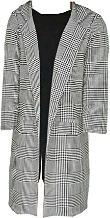 Womens Plus Size Hounds Tooth Checked 3//4 Sleeve Open Front Blazer Jacket UK
