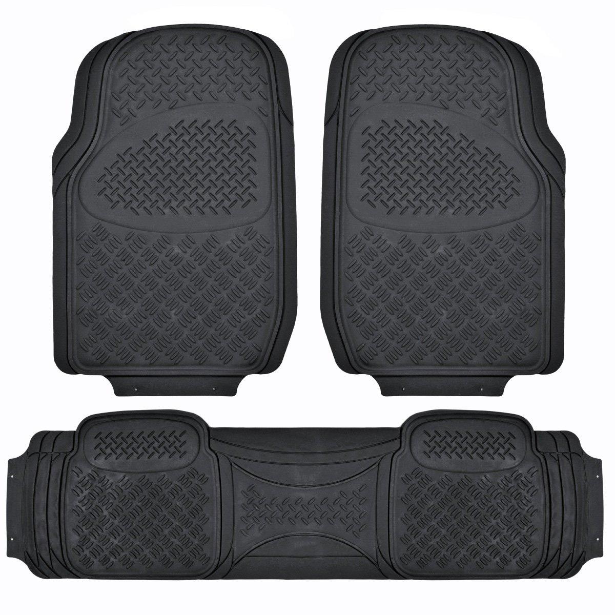 Rubber floor mats denver - Bdk Maxduty Rubber Floor Mat For Car Suv Van Truck Super Heavy Duty Rubber Trim To Fit 3 Piece Black