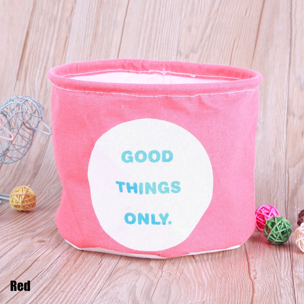 CALISTOUK Colorful Patterns Linen Desk Storage Box Holder Jewelry Cosmetic Stationery Organizer Case, Red
