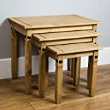 Home Discount Corona Nest Of Tables, Solid Pine Wood