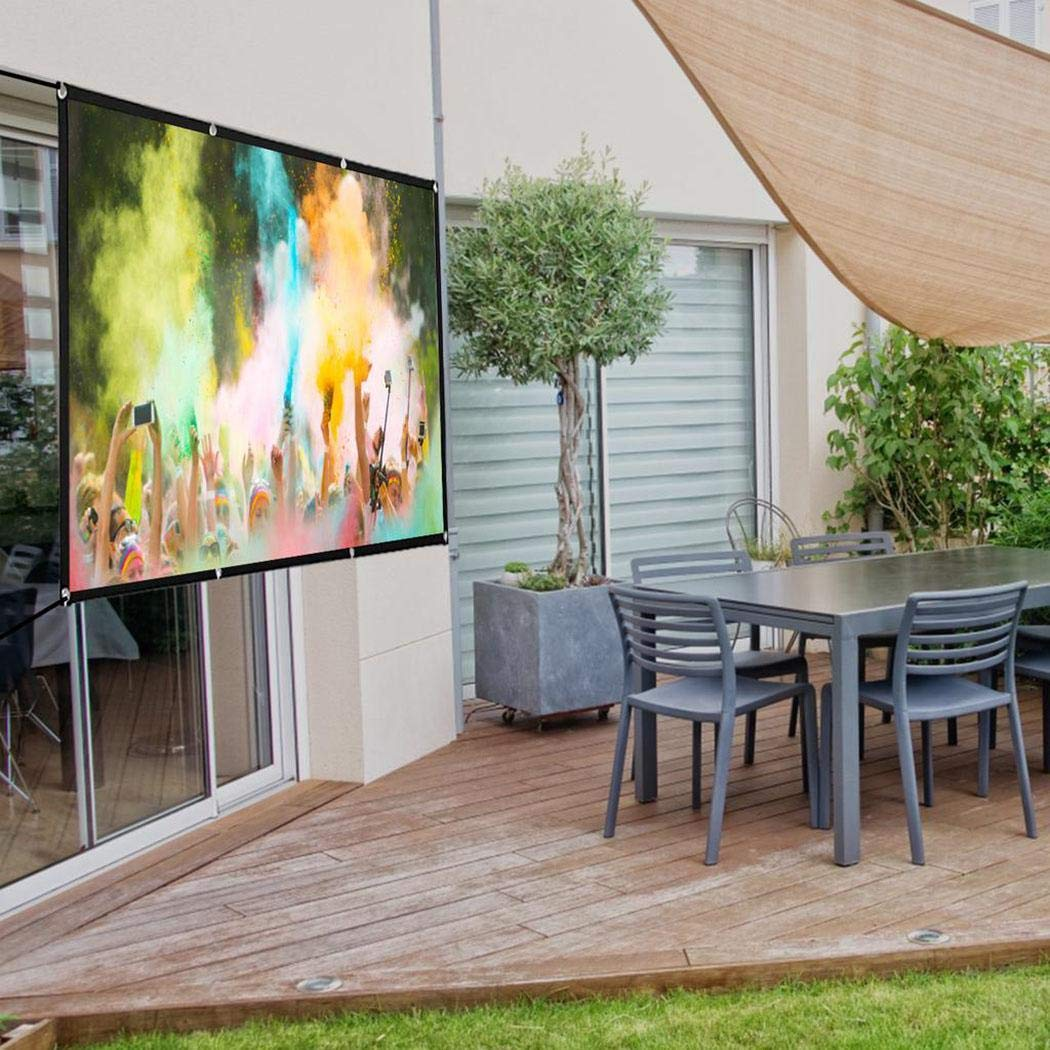 Foldable Projector Movie Screen Anti-Crease for Home Theater Indoor Outdoor Projection Screen