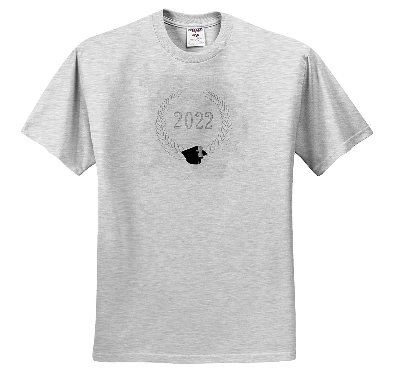 3dRose Beverly Turner Graduation Design T-Shirts Gray 2022 Leaf Oval Frame White Image of Graduation Diploma on Cap
