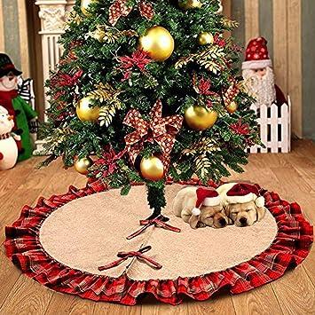 MeeQee 48 Pulgadas de Falda de árbol de Navidad a Cuadros, Línea ...