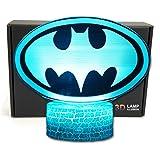 LED Superhero 3D Optical Illusion Smart 7 Colors Night Light Table Lamp with USB Power Cable (Batman Logo)