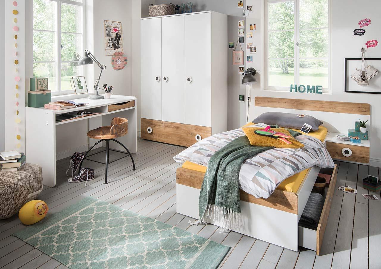 lifestyle4living Jugendzimmer Komplett-Set in weiß und Plankeneiche-Dekor, modernes Kinderzimmer für Jungen und Mädchen, 3-TLG. zeitlos