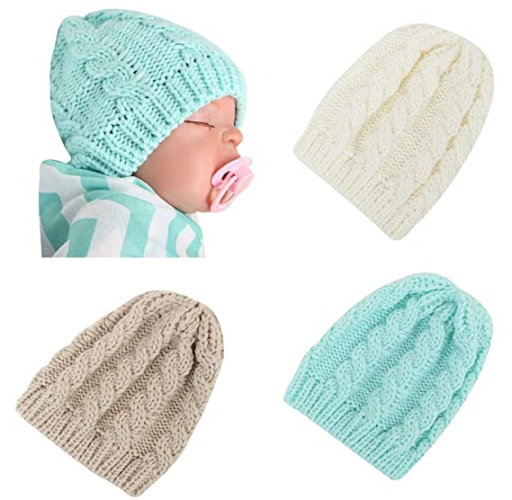 Infant Baby Knit Hat Soft Thermal Newborn Beanies Skull Winter Cap 3 Pack- White Beige 60ff667c6a6