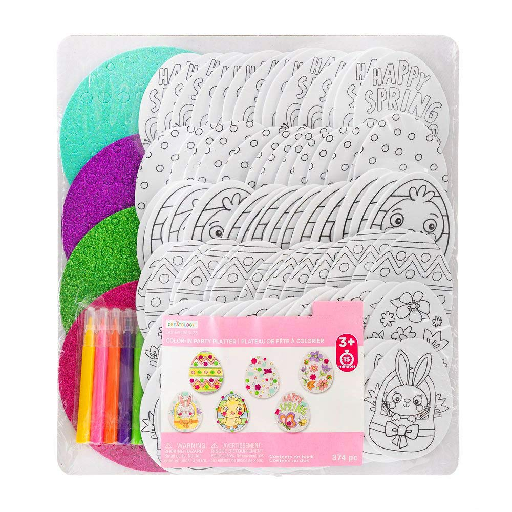 Color-in Easter Eggs Foam Party Platter Springtime Crafting Kit (374 Piece)