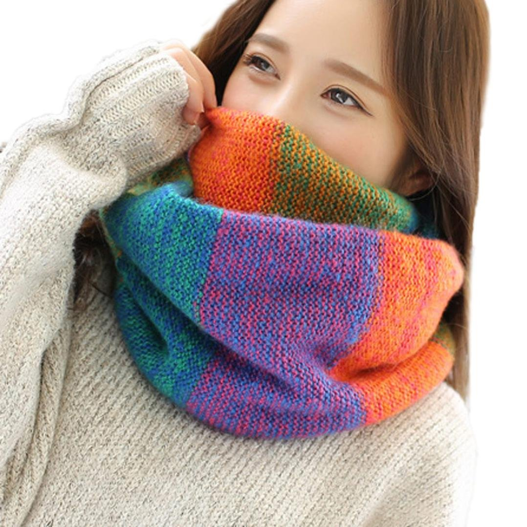 Clearance, Yang-Yi Women Scarf Autumn Winter Warm Knit Neck Circle Cowl Snood Multi-Purpose Scarf (A) YANG-YI Lingerie