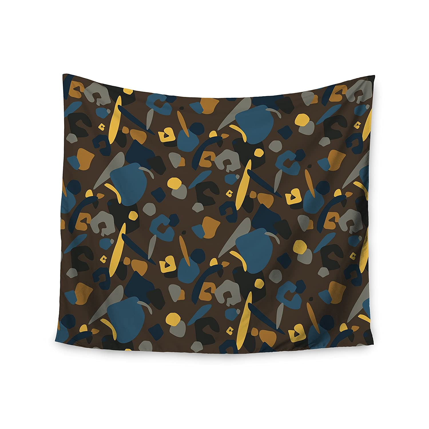 Kess InHouse Luvprintz Abstract Leoparc Teal Brown Wall Tapestry 51 x 60